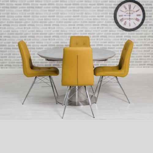 Home Essential 28 LED Round Extendable- (Dining table 160cm -220cm )   PMT  Grey/Mustard Chairs